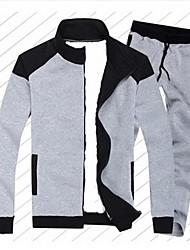 Männer Stehkragen Lässige Long Sleeve Kontrast Farbe Fleece Sweatshirts Anzüge