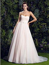 LAN TING BRIDE A-line Wedding Dress Wedding Dress in Color Court Train Sweetheart Tulle with Button Criss-Cross Crystal Floral Pin