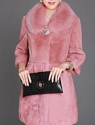 Skymoto®Women's Turndown Collar Long Sleeve Faux Fur Long Coat(More Colors)