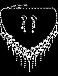 argenté boucles d'oreilles serties de diamants plaqués& ensemble de collier pour les nobles dames (1 jeu) (d)
