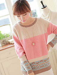 xiaonvren Splicing Color Loosen Fit Sweater_X60(Screen Color)