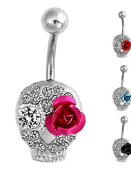 Vintage Women's 28*12mm Skull Flower-Shaped Titanium Steel Inlay Rhinestone Navel Ring(1Pc)