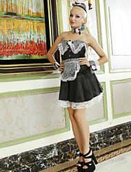 Sweet Girl White Lace Preto Poliéster Maid Uniform