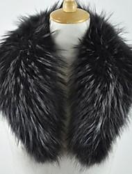 Women's Black Real Genuine Raccoon Fur Collar Scarf Wrap