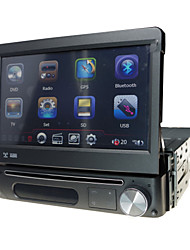 1 din panel desmontable reproductor multimedia radio del coche de 7 pulgadas dvd con gps bluetooth ipod atv