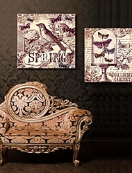 Stretched Canvas Art Retro Flower And Bird Adornment Picture Set of 2
