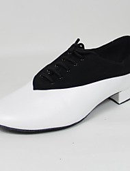 Non Customizable Men's Dance Shoes Swing Shoes Leather/Flocking Chunky Heel Black/White