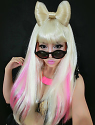 Weird Ladygaga Big Bow Pattern Light Golden 55cm Women's Halloween Party Wig