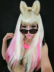 ladygaga extraño arco grande patrón de luz 55cm de oro de halloween fiesta de la peluca de las mujeres