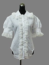 Blouse/Shirt Sweet Lolita Lolita Cosplay Lolita Dress White Solid Short Sleeve Lolita Blouse For Women Cotton