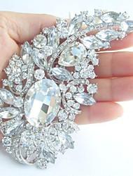Women's Trendy Alloy Silver-tone Rhinestone Crystal Flower Bridal Brooch Pin