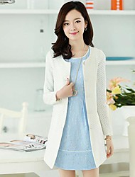 Women's Coat,Solid Long Sleeve Fall / Winter White / Yellow Others Thick