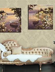 Personalized Canvas Print Evening Harbour 30x30cm  40x40cm  60x60cm  Framed Canvas Painting Set of 2