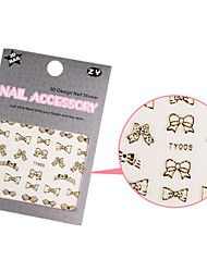 1PCS Sweet Gold Fashion Sparkling Mix Design Nail Art Stickers(Bow)