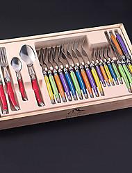 flyingcolors 24 pezzi Laguiole set da tavola per la cena con scatola di legno, colori casuali