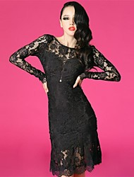 Women's Round Backless Lace Long Sleeve Party Dress