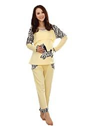 Maternity's Fashion Comfortable Zebra Embroidery Breastfeeding Pajamas Clothing Set