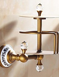 Porte Papier Toilette Laiton Antique Fixation Murale 150*150mm(5.9*5.9inch) Laiton / Céramique / Cristal Antique