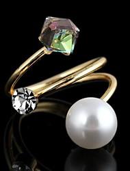 Women's Alloy Ring Imitation Pearl/Rhinestone Alloy