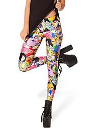 ROSI Women's Floral Print Thin Slim Star Sky Silk Bottoming Pants