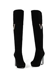 damesschoenen ronde neus dikke hak knie hoge laarzen