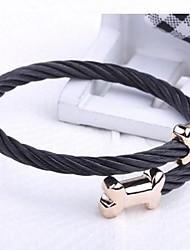 herenmode persoonlijkheid titanium staal gouden hond bot armbanden