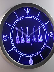nc0450 Guitar Weapons Hero Bar Beer Neon Sign LED Wall Clock