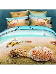 Shuian® Duvet Cover Set, 4 Piece Suit Twill 100% Cotton Comfort Simple Modern with 3D Shell Pattern