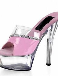 Women's Shoes Leatherette Summer Heels / Platform / Slide Dress Stiletto Heel Rhinestone / Crystal / Crystal Heel / Split Joint / Slip-on