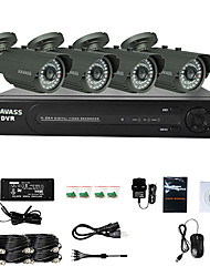 KAVASS® 4CH CCTV DVR Kit (P2P,H. 264, 4 Outdoor Waterproof Color Cameras)