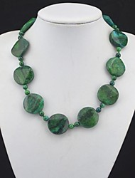 Toonykelly® Fashionable Natural Real Round Green Stone Bead Necklace(1 Pc)