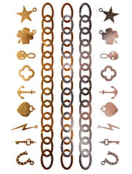 1Pcs Lightning Star Pattern Bracelet Jewelry Inspired  Metallic Gold  and  Silver Tattoo Stickers Temporary Tattoos