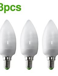3-pack h + lux ™ cfl eic C37 E14 9W 400lm cri>80 2700k caldo lampadina candela bianca (AC220-240V) = 40w ad incandescenza
