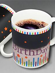 Happy Birthday Star Pattern Color Change Mug Heat Sensitive Coffee Cup