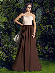 2017 Lanting Bride® Sweep / Brush Train Chiffon Bridesmaid Dress - A-line One Shoulder Plus Size