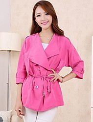 Women's Trench Coat / Coat,Solid ¾ Sleeve / Long Sleeve Spring / Fall / Winter Pink / Green / Orange Cotton / Polyester / Others Thin