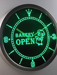 nc0281 panificio negozio aperto pane neon orologio da parete led