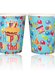 Coway 50PCS Happy birthday Cake Theme Party Disposable Paper Cup Cartoon Environmental Protection