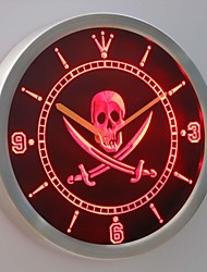 nc0452 Pirates Skull Head Bar Pub Beer Neon Sign LED Wall Clock