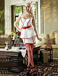 Enfermera sexy uniforme de la muchacha de poliéster blanco