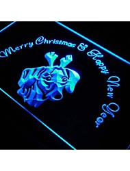 s161 Dachshund Dog Christmas New Year Deer Neon Sign