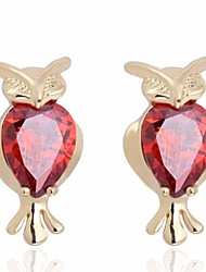 Women's Delicacy Fox Pattern With Zircon Stud Earrings ERZ0291-J-R