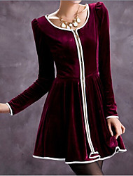 elegante vestido ajustado de manga larga de color sólido de las mujeres dama