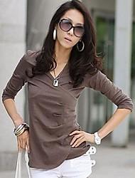 v collo manica lunga colore solido del cotone camicetta delle donne