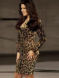 XinYuanGe® Women's Round Neck Leopard Print Sexy Slim Dress