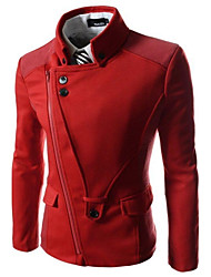 mens estilo piloto ocasional elástico jaqueta de zíper magro
