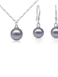 Classic (Round Pearl) Platinum Plated Jewelry Set (White Coffee and Gray)
