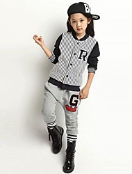 Children's Fashion And Leisure Stripe Baseball Sport Clothing Set(Outwear&Pant)