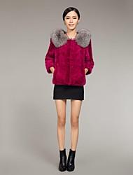 Zijindiao® Women's Genuine Mink Fur Coat with Silver Fox Fur Collar