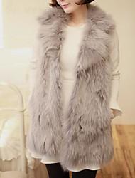 Women's Elegant Faux Fur Lapel Neck Long Vest
